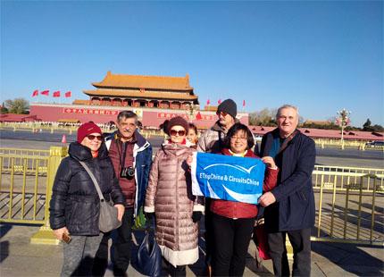 voyageur sur la place Tiananmen