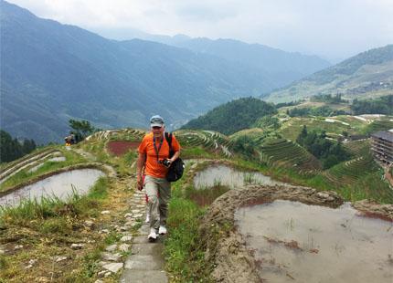 marche sur des rizières en terrasse de Longji