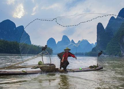 pêche sur la rizières li