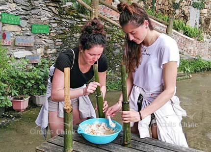 apprendre faire le riz du bambou