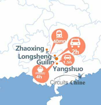 Carte de Guilin, Yangshuo, Longsheng et Zhaoxing