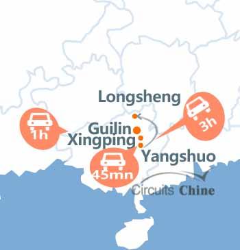 carte du voyage Guilin, Xingping, Yangshuo et Longsheng