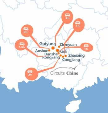 carte du voyage Guizhou