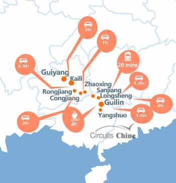 carte du voyage Guizhou et Guangxi