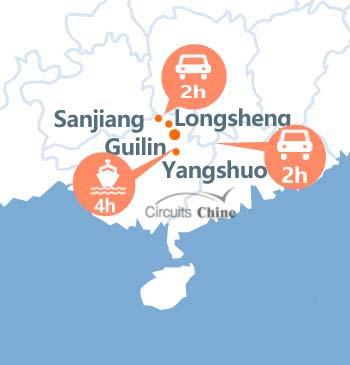 carte du voyage Guilin, Longsheng, Yangshuo et Sanjiang