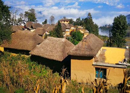 Village dans les rizières en terrasse de Yuanyang
