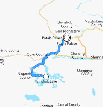 carte du voyage Lhassa et lac Yandrok