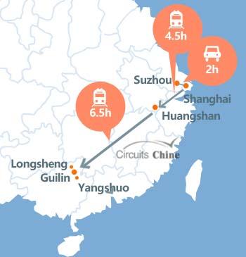 carte du voyage Shanghai, Suzhou, Huangshan et Guilin