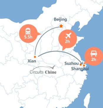 carte du voyage Pékin, Xian, Shanghai et Suzhou