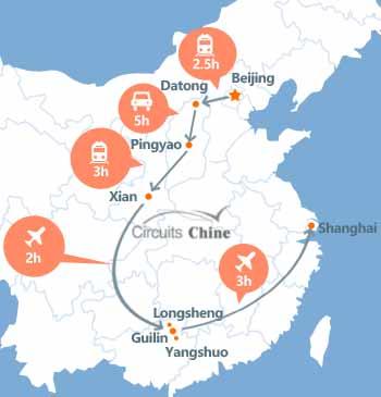carte du voyage Pékin, Datong, Pingyao, Xian, Guilin, Yangshuo, Longsheng et Shanghai