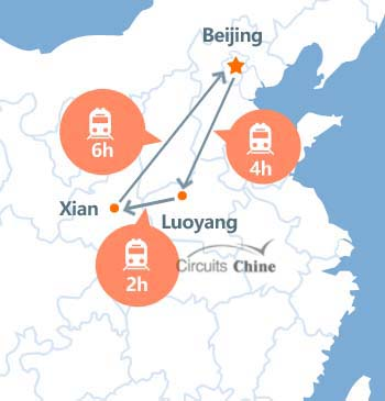 carte du voyage Pékin, Luoyang et Xian