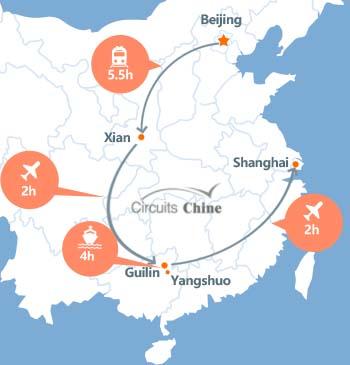 carte du voyage Pékin, Xian, Guilin, Yangshuo et Shanghai