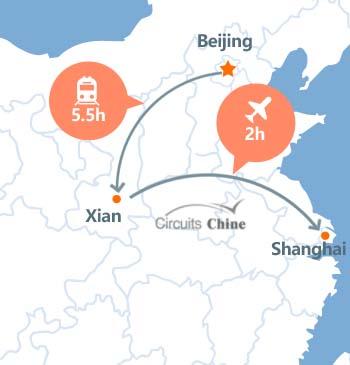 carte du voyage Pékin, Xian et Shanghai
