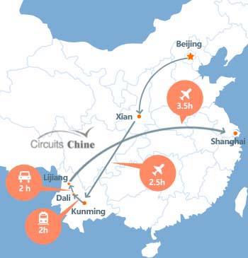 carte du voyage Pékin, Yunnan et Shanghai