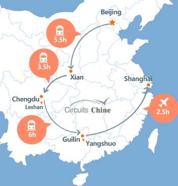 carte du voyage Pékin, Xian, Chengdu, Leshan, Guilin, Yangshuo et Shanghai