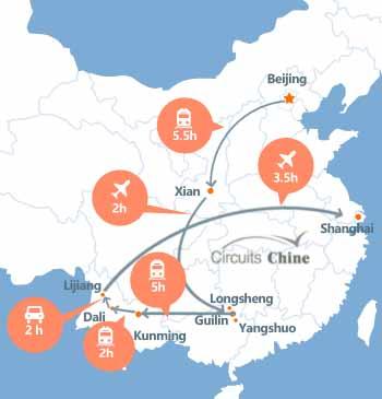 carte du voyage Pékin, Pingyao, Xian, Guilin, Yangshuo, Longsheng, Yunnan et Shanghai