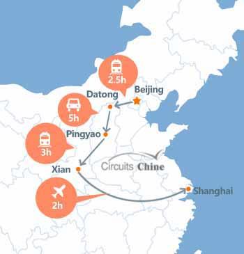 carte du voyage Pékin,  Datong, Pingyao, Xian et Shanghai