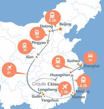 carte du voyage Pékin - Datong - Pingyao - Xian - Guilin - Longsheng -Yangshuo - Xiamen - Huangshan- Suzhou - Shanghai