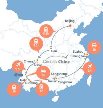 carte du voyage Pékin, Xian,Chengdu, Leshan, Yunnan, Guilin, Suzhou et Shanghai