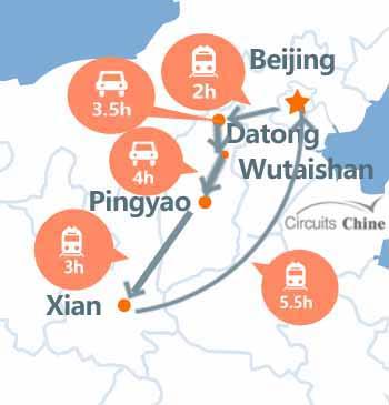 Carte du Voyage Pékin - Datong - Mont Wutaishan - Taiyuan - Pingyao - Xian - Pékin