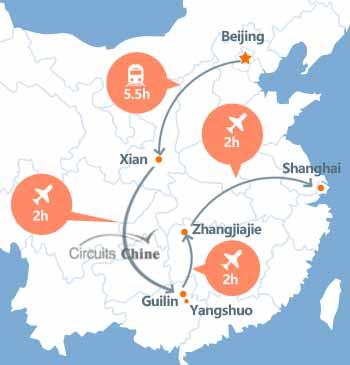 carte du voyage pékin, Xian, Guilin, Zhangjiajie et Shanghai
