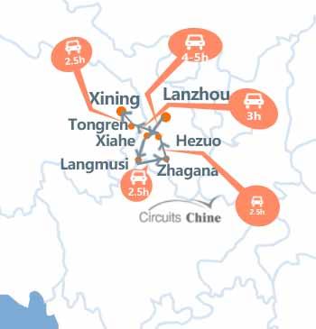 carte du voyage du sud du Gansu et Qinghai