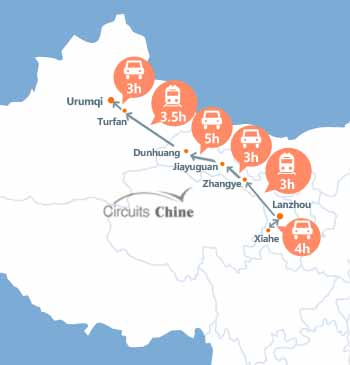 carte du Voyage Lanzhou - Xiahe - Zhangye - Jiayuguan - Dunhuang - Turpan - Urumqi