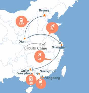 mapa de Beijing-xian-shanghai-guilin-hongkong