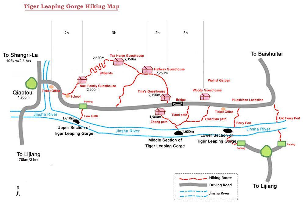 mapa de trekking dn el cañon de un salto del tigre