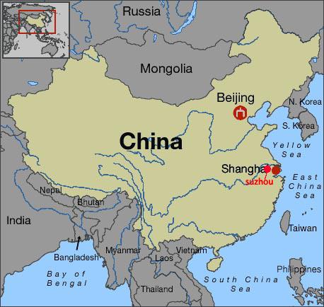 carte de locaton de Suzhou